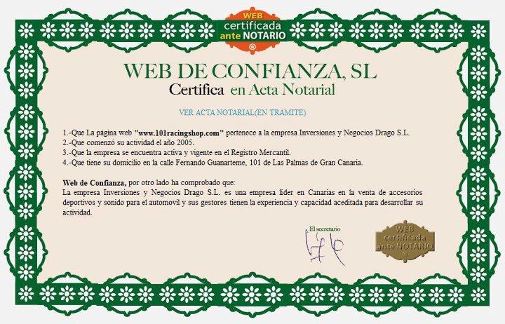 web certificada ante Notario de la calidad y profesionalidad de nuestro trabajo.